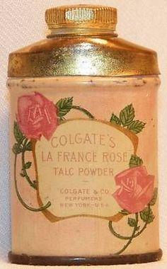 Vintage COLGATE LA FRANCE ROSE Talc Powder MINIATURE Sample Tin w/Some Talc