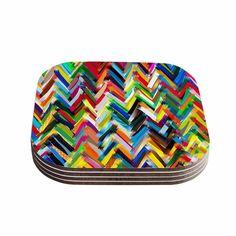 Kess InHouse Frederic Levy-Hadida 'Chevrons' Rainbow Coasters