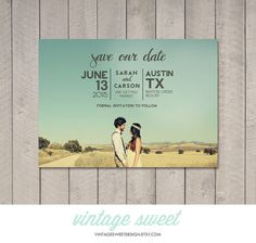 Modern Save the Date Card / Magnet / Postcard Printable by Vintage Sweet, $12.00