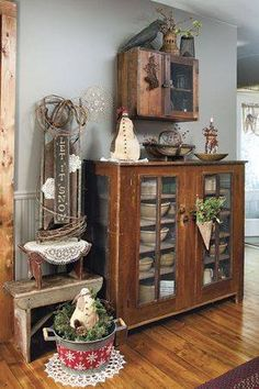 Old cabinet with old bowls...love