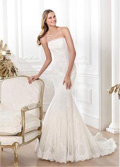 STUNNING TULLE MERMAID STRAPLESS NATURAL WAISTLINE WEDDING DRESS IVORY WHITE LACE BRIDAL GOWN HANDMADE CUSTOM