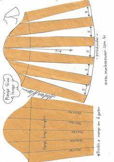 Formas de transformar el patrón para las mangas - Patrones gratis Source by VEJA MAIS Formas de transformar el patrón para las mangas - Patrones gratis, # ✂❤ . Sewing Sleeves, Sewing Pants, Techniques Couture, Sewing Techniques, Pattern Cutting, Pattern Making, Dress Sewing Patterns, Clothing Patterns, Sewing Tutorials
