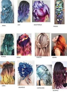 zodiac signs as hair ~ hair zodiac signs ; zodiac signs outfits and hair ; zodiac signs as hair ; zodiac signs clothes and hair ; zodiac signs as hair colors Zodiac Signs Chart, Zodiac Signs Sagittarius, Zodiac Star Signs, Zodiac Signs Animals, Leo Zodiac, Zodiac Clothes, Pelo Multicolor, Zodiac Sign Fashion, Hair Straightening Iron
