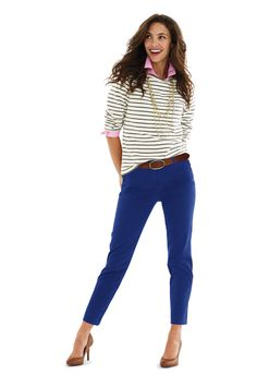 Women's Fit 2 Slim Ankle Chino Pants from Lands' End - raspberry wine or blue