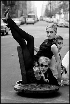 Andy Warhol, Edie Sedgwick, and Chuck Wein photographed by Burt Glinn (c. 1965).