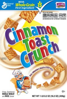 I think Cinnamon Toast Crunch is thee BEST cinnamon cereal EVER and I have to have this EVERYDAY either as a bowl or just a few pieces but either way, awesome cereal :) Cinnamon Love, Cinnamon Cereal, Cinnamon Toast Crunch, Crunch Cereal, Granola Cereal, Rice Cereal, Cereal Boxes, General Mills Cereal, Types Of Cereal