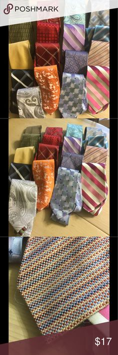 Large lot of men's ties Seventeen ties are included in this listing. Brands include Croft & Barrow, Van Heusen, etc.  All are used (by my husband). Most are in great shape but a few show signs of wear, I included a couple of close ups.  If you have any questions about specifics please don't hesitate...  I have a deep bundle discount of 20% off three or more items...please browse the rest of my closet :) croft & barrow Accessories Ties