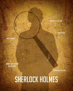Sherlock Holmes 11x14 - Fine Art Print Steampunk Detective Arthur Conan Doyle, Map of London, Magnifying Glass, Geek Art, Sherlock Poster. $28.00, via Etsy.
