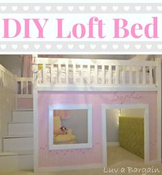 I love love love this DIY project for a dreamy loft bed girl's playhouse - oh and there is storage!