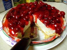 Easiest No Bake Cheesecake #cheesecake #cream-cheese #cherry #cherries #pie #justapinchrecipes