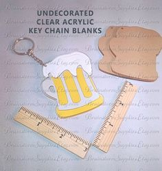 DIY Customized Beer Mug Key Chain Clear Acrylic Blanks Great for Father's Day! BrainstormSupplies.Etsy.com