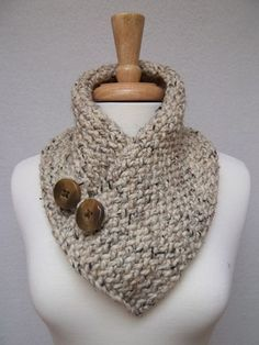 love this--warm but not too bulky. perfect for winter trip. Cowl Knitted Oatmeal Buttoned Neck Warmer Scarflette Scarf by NinisNiche Crochet Scarves, Knit Crochet, Crochet Hats, Knitting Projects, Crochet Projects, Creation Couture, Knit Cowl, Neck Warmer, Yarn Crafts