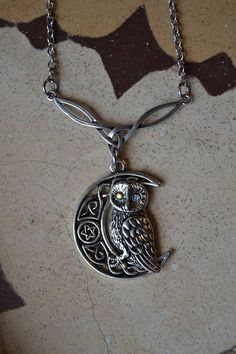 Magical owl and moon necklace, celtic crescent moon necklace by Valkyrie´s Song Jewelry