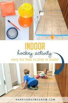 Score! Get moving and having fun with this super simple indoor hall hockey activity. It's super easy to set-up this new way to play hockey at home.