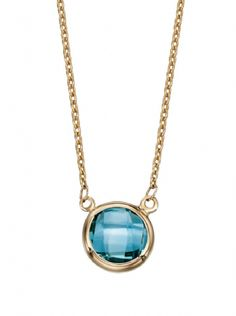 "Elements 9ct Yellow Gold Blue Topaz Necklace 18"" Chain"