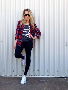 Black Tights + Tee + Plaid Shirt + Converse Sneakers