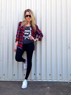 Black Tights + Tee + Plaid Shirt + Converse Sneakers