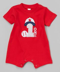 Red Baseball '1' Romper - Infant #zulily #zulilyfinds