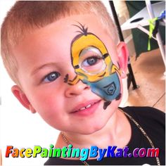 www.facepaintingbykat.com  Minion of despicable me  face paint ❤️  Face painting by kat