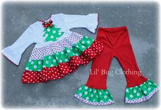 Custom Boutique Clothing Christmas Tree Tiered Polka Dot Red White and Green Top and Pant Girl