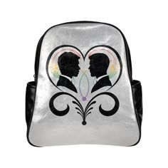 Two Grooms Heart Silhouette Multi-Pockets Backpack (Model 1636)