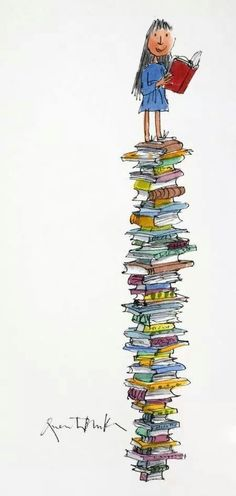 Matilda and her tower of books (Roald Dahl, art by Quentin Blake) I Love Books, Good Books, Books To Read, My Books, Pile Of Books, Quentin Blake Illustrations, World Of Books, Lectures, Children's Literature