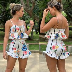 Two piece set for every girls with the floral printed design Short Outfits, Summer Outfits, Casual Outfits, Cute Outfits, Girls Fashion Clothes, Fashion Dresses, Clothes For Women, Cute Fashion, Girl Fashion