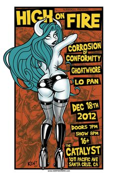 High On Fire and Corrosion of Conformity screen printed Pin Up devil girl gig poster by Zachary Kent $30 www.kentdesigns.com