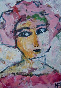 """acryl schildering 80x100, """"Voorjaarsvrouw"""" van Marian Filarski"""