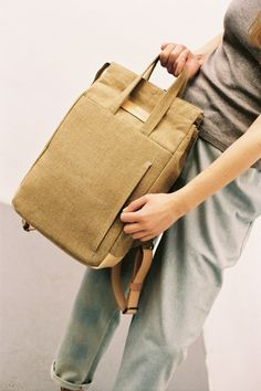 FINAL SALE: Handle Backpack Raw Natural