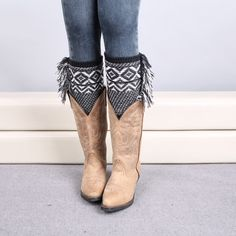 Total Fringe Boot ToppersBlack/White New! Trending this fall crochet knit, fringed out boot toppers/cuffs/leg warmers! Get yours today! Accessories