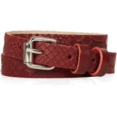 TOPSHOP Snake Embossed Belt ($20) ❤ liked on Polyvore featuring accessories, belts, red, snake leather belt, topshop belts, 100 leather belt, real leather belts and embossed leather belt