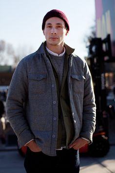jacket, fashion weeks, raspberri, style, red hats, men fashion, new york fashion, winter layers, berets