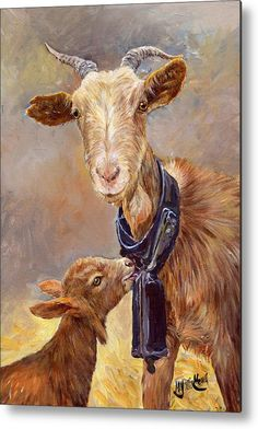 "#Goat Metal Print featuring the painting ""Mother Love"" by Margaret Merry. #kid #mother"