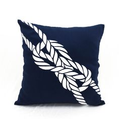 Navy Throw pillow, Rope Pillow, Nautical pillow covers, coastal decor beach,embroidered pillow, decorative pillow for couch,nautical rope