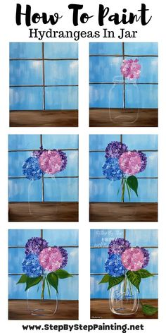 Canvas Painting Tutorials, Easy Canvas Painting, Painting Lessons, Diy Painting, Painting & Drawing, Watercolor Paintings, Canvas Art, 3 Canvas Paintings, Easy Flower Drawings