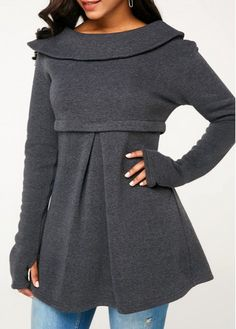 Dark Grey Fold Over Neck Glove Sleeve Sweatshirt Skirt Fashion, Fashion Outfits, Conservative Fashion, Trendy Clothes For Women, Dress Sewing Patterns, Grey Sweatshirt, Diy Clothes, Dark Grey, New Dress