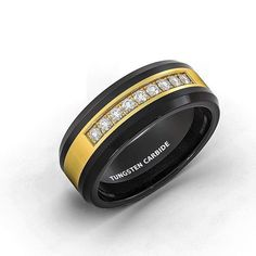 Excited to share the latest addition to my shop: Tungsten Black Rose with Cubic Zircon Black Tungsten Rings, Silicone Rings, Diamonds And Gold, Rings For Men, Wedding Rings, Mens Fashion, Engagement Rings, Unique Jewelry, Menswear