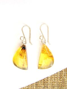 Half moon, Mexican amber earrings from Chiapas, Mexico