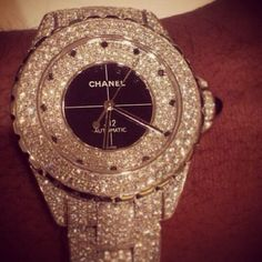Chanel<3 love this watch!! what every girl needs a watch covered in diamonds #DiamondWatches