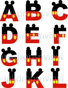 Mickey Mouse Inspired Letters and Numbers Red with Yellow Buttons Full Alphabet and Numbers Instant Download Digital File
