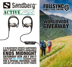 #WIN #GIVEAWAY - @Sandberg ACTIVE WorldWide Giveaway with @FullSyncNetwork 2x BT Sport Earphones