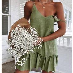 Promo Code: MARTAINE White Shift Dresses, White Dress Summer, Green Dress, Vestidos Halter, Spaghetti Strap Dresses, Summer Dresses For Women, The Dress, Ruffle Dress, Short Dresses