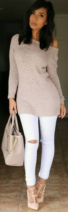 Great sweater! Don't love the shoes or the bag though.