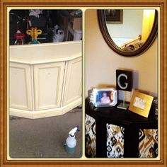Refinished furniture piece before and after with Anthropologie hardware and fabric from JoAnn
