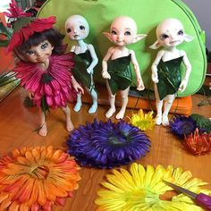 Little leaf dresses ready to have their petals attached! May have to wait until next week for a dry day for a photo shoot. #flowerfairies  #fairylandbjd  #hobbylobbyflowers
