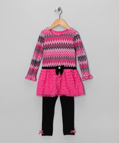 Another great find on #zulily! Dark Pink Ruffle Tunic & Leggings - Infant & Toddler by Young Hearts #zulilyfinds
