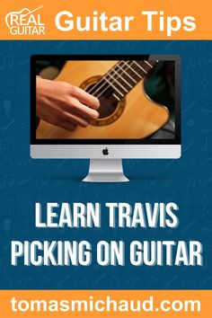 Travis picking is a popular fingerpicking technique for guitar players, and it is mostly known for its alternating bass notes. It gets its name from Merle Travis. This fingerpicking technique is a great gateway to fingerstyle guitar for beginner guitar players because it will make it much easier to progress to more complex fingerpicking patterns in the future. While this guitar technique can get complicated, in this guitar lesson, you will learn a simple and fun exercise to start with. Play Guitar Chords, Learn Acoustic Guitar, Learn To Play Guitar, Merle Travis, Fingerstyle Guitar Lessons, Guitar Online, Types Of Guitar, Guitar Lessons For Beginners, Guitar Tips