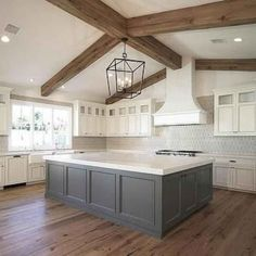 Kitchen Remodel Ideas Ivory Cabinets with Grey Island, Transitional, Kitchen Farmhouse Kitchen Cabinets, Modern Farmhouse Kitchens, Home Kitchens, Kitchen Modern, Rustic Cabinets, Grey Kitchens, Modern Kitchens With Islands, Colonial Kitchen, Farmhouse Sinks