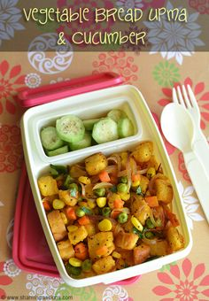 Kids Lunch Box Recipes - LunchBox Idea 12 - Vegetable Bread Upma | Sharmis Passions